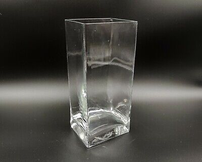 Transparent/Clear Contemporary Heavy Bottomed Square/Rectangular Glass Vase-22cm • 11.99£