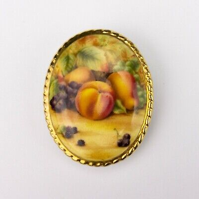 Aynsley Fine Bone China - Orchard Gold Fruit Decorated Pin Brooch - Lovely! • 9.99£