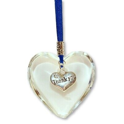 Thank You Glass Hanging Heart Hung On Nhs Blue Ribbon Great Gift • 6.95£