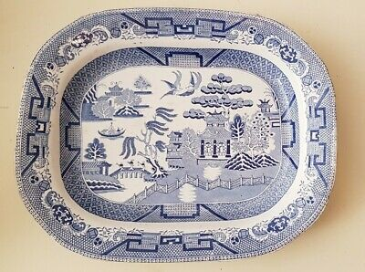 Antique Twigg's Blue & White Willow Pattern Meat Platter C1820 Twigg & Son • 19£