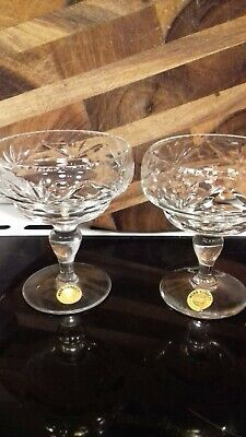 Webb Corbett Vintage  Lead Crystal Champagne Saucers Pre 1960s   • 10£