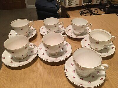 7 Longton Hall Ferneyhough Bome China Teacups And Saucers • 0.99£