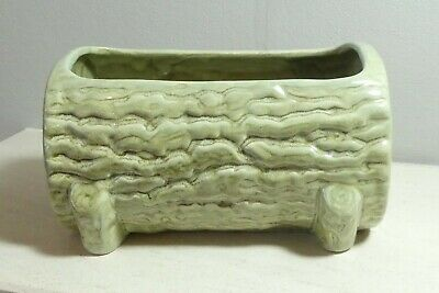 Vintage Retro Ceramic Planter Plant Holder Celadon Green Colour Bark Effect • 4.99£