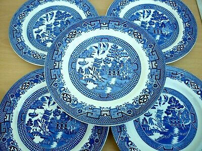 Five Vintage/retro Willow Pattern Plates - Two Sizes - Swinnertons 'old Willow' • 4.99£