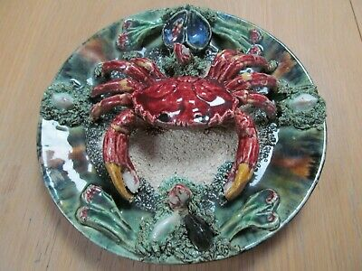 Palissy Ware Majolica Style Wall Plaque Plate Dish  Crab  (GA1891) • 29.99£