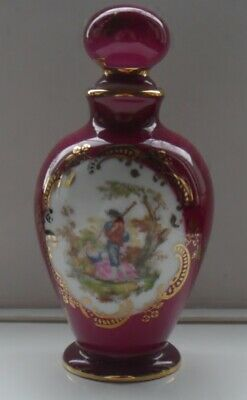 Limoges Urn/ Jar With Stopper Decorated Panel - Boy Playing The Pipes To A Girl • 11.99£