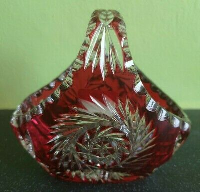 Vintage German Lausitzer Ruby Clear Cut Glass Basket Dish (D4) • 9.99£