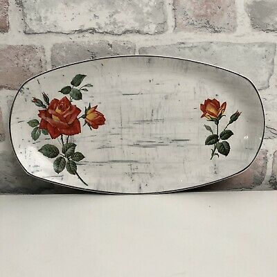 Vintage Midwinter Stylecraft Fashion Shape Oval Plate Linen Effect With Roses • 6.99£