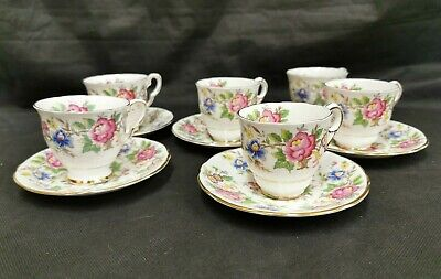 5 X Rochester Royal Stafford Cup And Saucer (Floral Design) D4 • 9.99£