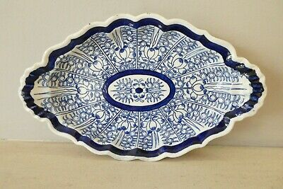 Early Royal Worcester Blue White Lily Pattern Dish 'Flight' With Crescent Mark • 19.99£