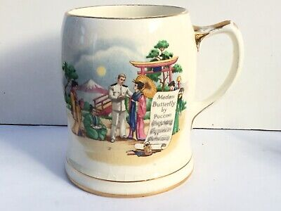 Rare Royal Winton Musical Mug - Madam Butterfly By Puccini - 1950's • 0.99£
