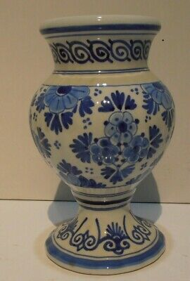 DELFT HOLLAND HAND PAINTED POTTERY VASE H.A.PICCARDT MODEN MARK 20THc BLUE/WHITE • 9.99£