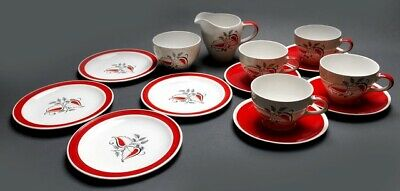 Vintage Wade Tea Set 'gay Day' Red And White With A Stylised Leaf Design England • 38£