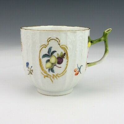 Antique Dresden Porcelain - Hand Painted Fruit Cup - With Twine Handle • 9.99£