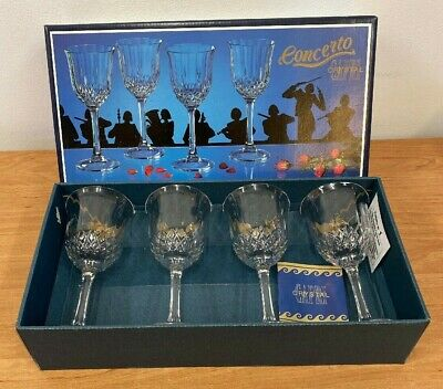 Royal Rock Italian Crystal Four Boxed  Concerto  Wine Glasses (D5.2) • 4.99£