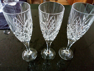 "3 Royal Doulton Crystal ""JULIETTE"" Champagne Glass / Flute – 21.9cms (8-5/8″) • 6£"