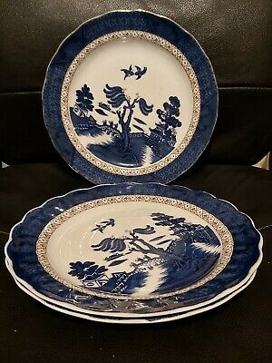 Vintage Blue And White Dinner Plates Booths Teal Old Willow The Majestic... • 3£