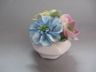 Vintage Collectable  Amanda Florals China Pink Miniature Vase & Flowers Ornament • 0.99£