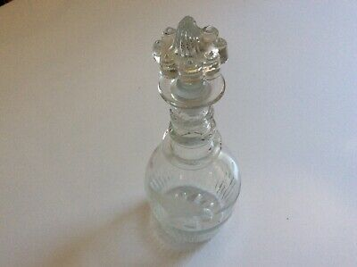 Georgian 3 Ringed Stoppered Glass Etched Decanter Early Pontil C.1820 • 9.99£