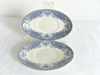 2   Ironstone  Oval  Blue And White  Plate/ Dish  • 2.99£