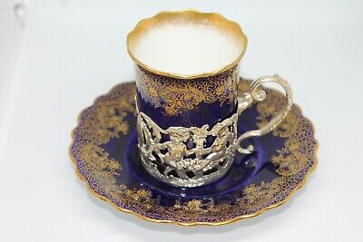 Aynsley Porcelain Coffee Can In Silver Holder ,Sheffield 1907/08 W,Hutton • 35£