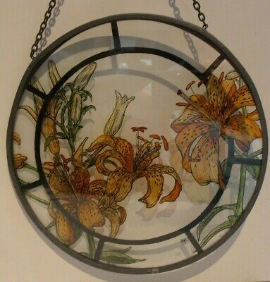 Leaded Stained Glass Hand Painted Lilies Signed  D M L  & Date  1982 Flowers   • 16.99£