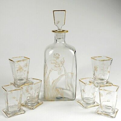 Antique French Glass Liquor Decanter Set, Aesthetic Style Engraved Insects • 512.05£