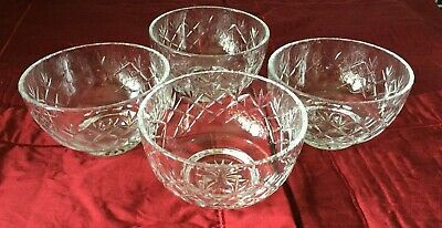 Lead Crystal Cut Glass Dessert Dishes Set Of 4  - Post Free • 0.99£