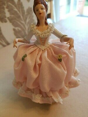 Dresden Figurine No 668 Lady In Pink Lace Dress Porcelain RARE • 45£