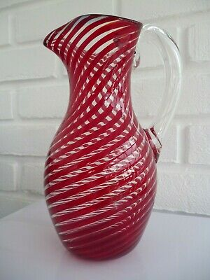 Glass Jug Pitcher Clear With Red Spiral Vintage • 13.99£