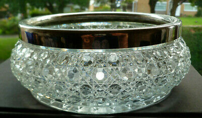 Victorian Clear Pressed Glass Bowl With Silver Plated Rim Marked • 15£