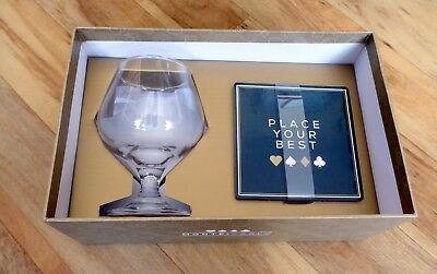 Boxed Brandy Glass And Coaster Set • 6£