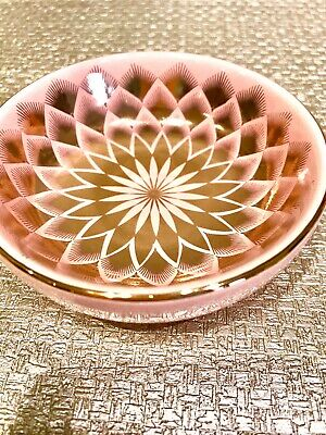 Pink And Gold Trinket Dish Art Deco Style Vintage Shabby Chic 9cm • 3.99£