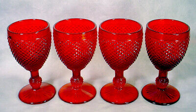 RUBY Red DIAMOND POINT Glass GOBLET Set IVIMA Portugal WINE Stem COCKTAIL Water • 23.14£