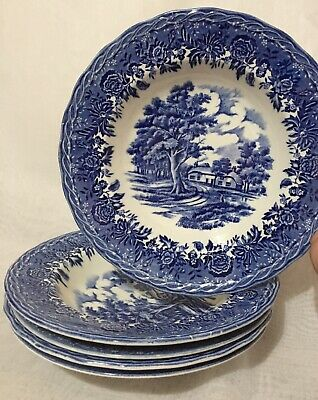 5 Lovely Genuine Vintage Bowls Soup Dessert W H Grindley Country Style Blue 22cm • 15£