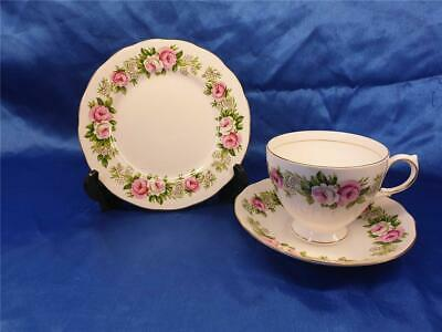 Colclough Pink  & White Roses - Enchantment Trio  Tea Cup Saucer  & Side  Plate • 6.98£