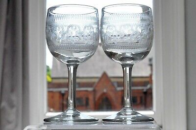 Pair Of Small Edwardian Etched Glasses Detailed Decoration (1) • 3.95£