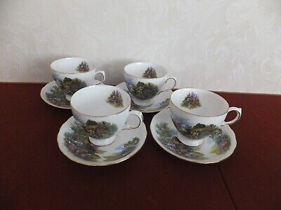 Royal Vale Country Cottage Bone China Cup And Saucer  X 4 • 16.95£