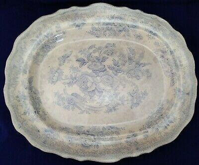Antique Blue And White Transfer Oval Serving Plate • 100£