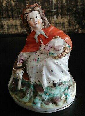 Antique Staffordshire Figure Of Little Riding Hood, 8  Tall • 13£