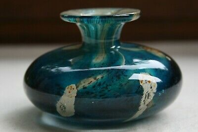 Mdina Tiger Pattern Glass Vase In Turquoise, Brown & Sand - Signed • 25£