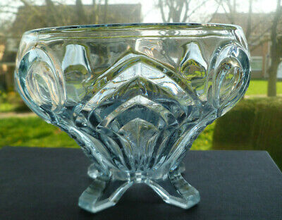 Vintage Sowerby Art Deco Pressed Art Glass Footed Rose Bowl 1930's Pat 2570 • 10£