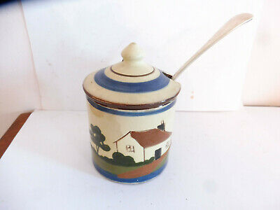 Antique Longpark Pottery Jampot & Spoon With Motto Be Aisy With Tha Jam  • 2.99£