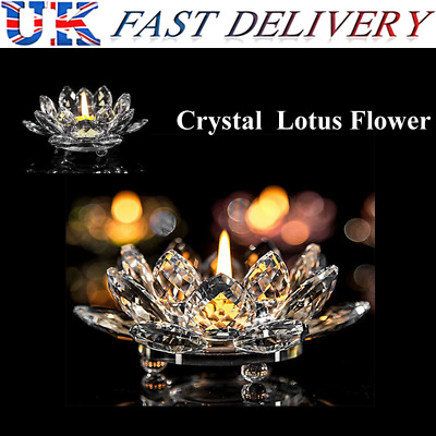 Colourful Crystal Glass Lotus Flower Candle Tea Light Holder Candlestick Decor • 8.88£