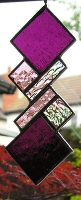 Stained Glass Panel, Abstract Suncatcher, Geometric, Handmade In England • 18.50£