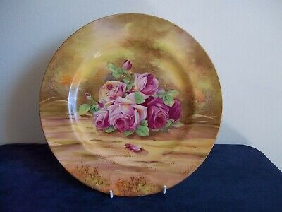 Royal Winton Hand Painted  Roses  Wall Plate. Signed ZKAS. • 30£