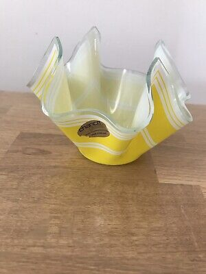 "Pilkington Chance Glass Hanky Handkerchief Vase, Yellow  4"", Vgc. 1970s Retro • 12£"