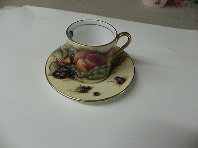 AYNSLEY Orchard Gold Coffee Cup And Saucer • 1.99£