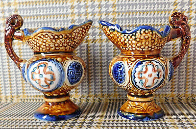 2 Vintage Ceramic Jugs Creamers Decorative Vases Ornaments 4  With Pottery Mark • 14£