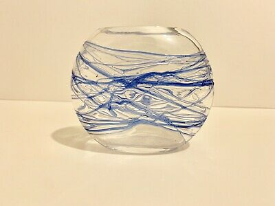 Signed Dartington Clear And Blue Strapped Vase • 12.50£